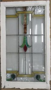 Large Old English Leaded Stained Glass Window Brilliant Floral 20 5 X 36