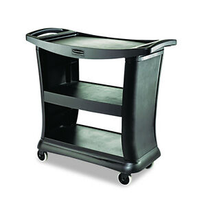 Black Plastic Wheeled Rolling Heavy Duty Drawer Service Utility Cart Top Shelf