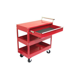 1 Drawer Heavy Duty Red Steel Wheeled Rolling Moving Utility Cart Shelf Storage