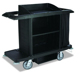 Heavy Duty Wheeled Rolling Plastic Housekeeping Service Utility Cart Full Size