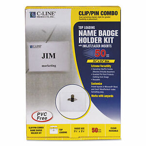 C line Name Badge Kits Top Load 3 1 2 X 2 1 4 Clear Combo Clip pin 50 box