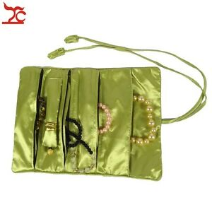 50pcs Chinese Silk Pouch Necklace Ring Storage Organizer Jewelry Travel Roll Bag