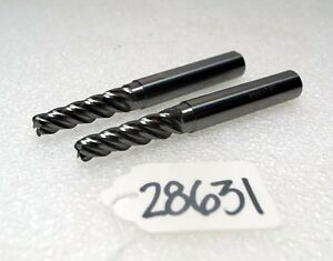 2 Tapered Carbide End Mill Cutters inv 28631