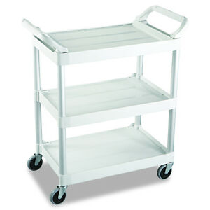 Plastic 3 Shelves Wheeled Rolling Swivel Casters Commercial Service Utility Cart