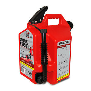 5 Gallon Red Plastic Gas Can Flexible Rotating Nozzle Self Venting Container