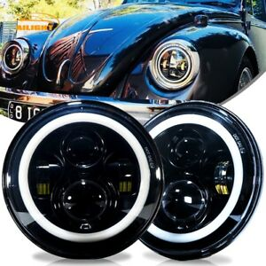 Dot 7 Inch Round Led Headlights Kit Upgrade Hi Low Beam For Vw Beetle Classic