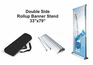 Double 2 side Retractable Roll Up Banner Stand display 33 X 79 Free Ship