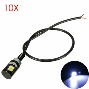 10 X White Motorcycle Screwt Smd Led Bolt Lamp Car Universal License Plate Light