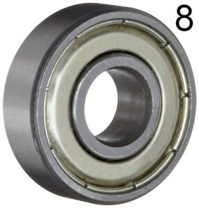 Eight 8 608zz 8x22x7 Shielded Greased Miniature Ball Bearings