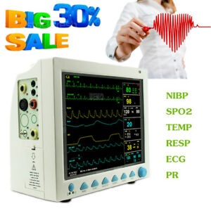 12 1 Icu Patient Monitor Multi parameter Ecg Nibp Spo2 Pr Resp Temp Hospital