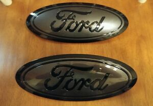 2015 2017 Ford F150 Grill And Tailgate Emblem Gloss Magnetic Black Pair