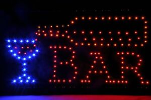 Open Bar Led Neon Business Motion Light Sign On off With Chain 19 10 1