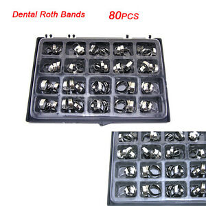 80pcs box Dental Supplies Dental Orthodontic Bands With Buccal Tube Roth Bands