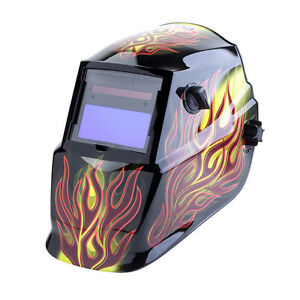 Solar Powered Auto Darkening Variable Shade Black Welding Helmet Cheater Lens