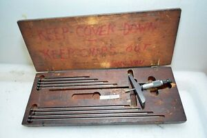 Starrett Depth Micrometer Set 0 9 Inches No 445 inv 33501