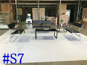 Office Leather Sofa Sofas Set Reception Seating Set Condo Couch Section S7