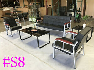 Office Leather Sofa Sofas Set Reception Seating Set Condo Couch Section S8
