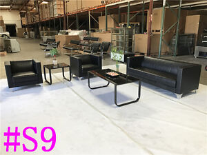 Office Leather Sofa Sofas Set Reception Seating Set Condo Couch Section S9
