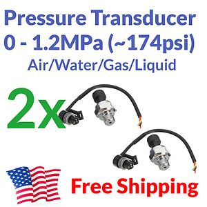 2pcs Pressure Transducer Electronic Gauge Meter Air Gas Water Fuel Arduino 5v
