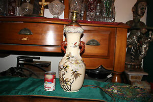 Antique Japanese Chinese Moriage Satsuma Vase Converted Lamp Flowers Butterflies