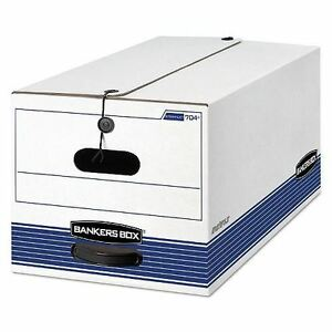Bankers Box Stor file Storage Box With Button Tie White blue letter 12ct