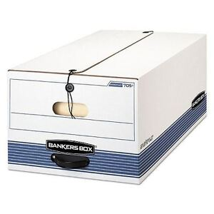Bankers Box Stor file Storage Box With String Button Closure White blue Carton