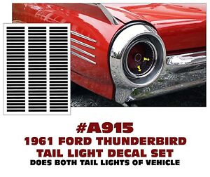 A915 1961 Ford Thunderbird Tail Light Decal Sticker Kit Rounded Back Style