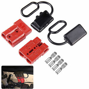 2 Pcs 50a Battery Trailer Pair Plug Quick Connector Kit Connect Disconnect Winch