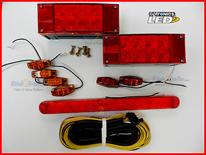 Submersible Trailer Rectangle Led Light Kit Stop Turn Tail With Id Bar Light