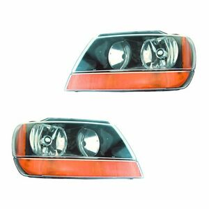 Fits 99 02 Jeep Grand Cherokee Driver Passenger Headlight Lamp Assembly 1 Pair