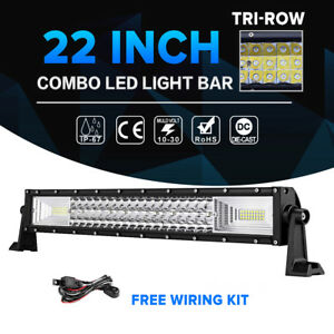 Tri Row 22inch 1296w Cree Led Work Light Bar Combo Offroad Suv Ute Lamp 4wd 20