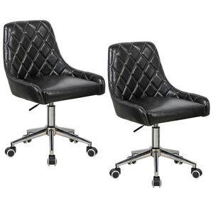 Set Of 2 Home Office Task Desk Chair Pu Leather Swivel Height Adjustable Black