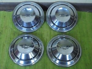 68 69 70 Chevy Dog Dish Hubcaps 10 1 2 Set Of 4 Hub Caps 1968 1969 1970