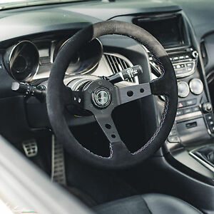 Viilante Tourismo 350mm Steering Wheel Suede Bmw Tri Color Stitch Fits Nrg Hub