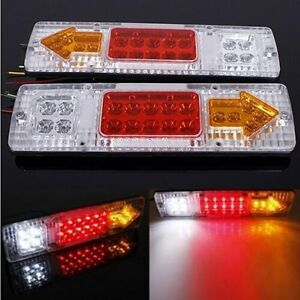 2x White 12v 19 Led Car Truck Trailer Tear Tail Stop Light Indicator Lamp