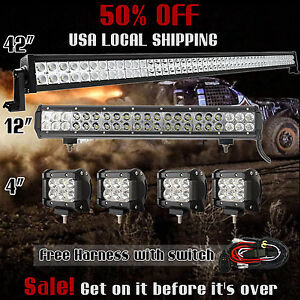 42 Inch Led Off Road Light Bar Combo 20 4 Cree Pods Suv Atv Ford Jeep 40