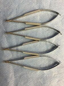 Storz E3828 Cwo Barraquer Needle Holder 9mm Gently Curved Delicate lot Of 4