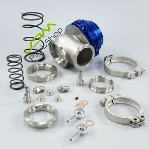 44mm Turbo Manifold Boost Blue V band Clamp External Wastegate ring springs