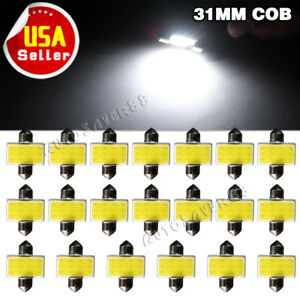 20x White Cob Led Interior Map Dome Light Bulbs 31mm Festoon 3175 3022 De3175 Us