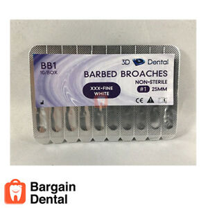 Dental Endodontic File Root Canal Barbed Broaches Non sterile Fine White 1 25mm