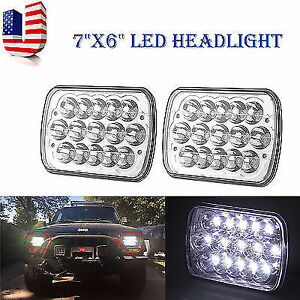 7x6 Led Hid Cree Light Bulbs Crystal Clear Sealed Beam Headlamp Headlight Pair