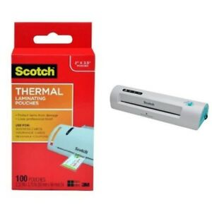 Scotch Thermal Laminator With 100 pack Laminating Pouches Tl901c t