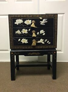 Chinese Furniture Hand Painted Stone Inlaid Wooden Lacquered Cabinet 3 Drawer