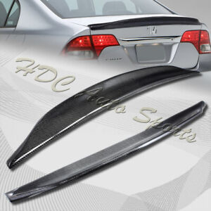 For 2006 2011 Honda Civic 4 dr Duck Real Carbon Fiber Rear Trunk Spoiler Wing
