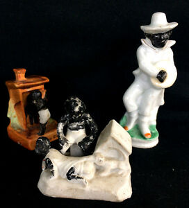 Lot Of 3 Antique Bisque Porcelain Black Americana Fairing Figurines Miniatures