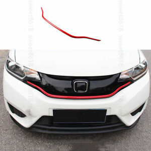 Front Grille Grill Cover Trim Red Moulding Decoration For Honda Fit 2015 2017