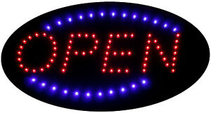 Super Bright Animated Led Flashing Neon Light Oval Shaped Open Sign 19 x10
