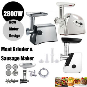 Electric Meat Grinder Industrial Sausage Maker Shop Butcher 4 Cutting Blades