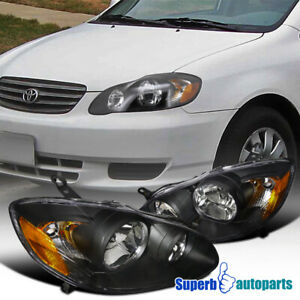 For 2003 2008 Toyota Corolla Replacement Black Headlights Driving Lamps Lh Rh