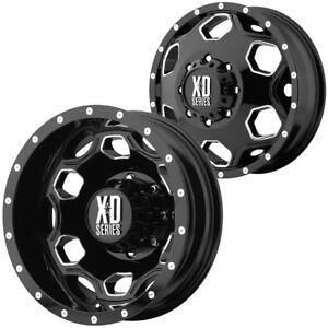 Set Of 6 Xd815 Batallion Dually 22x8 25 8x170 Black Wheels Rims Lugs Included